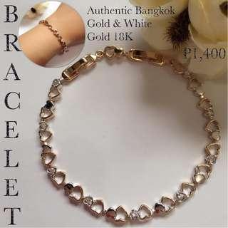 Authentic Bangkok Gold & White Gold 18K Bracelet Bangle
