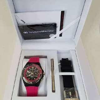 Authentic TECHNOMARINE Watch TECHNOMARINE Cruise Sport 110015 Pink Strap With Extra Black Strap, 40mm 9,250 (10,500)   #sweldosale