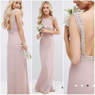 TFNC Petite Wedding High Neck Maxi Dress with Embellished Low Back / Mauve