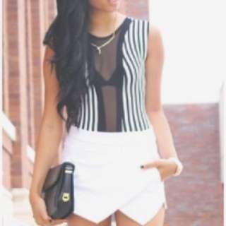 Boohoo black & white leotard bodysuit size 8