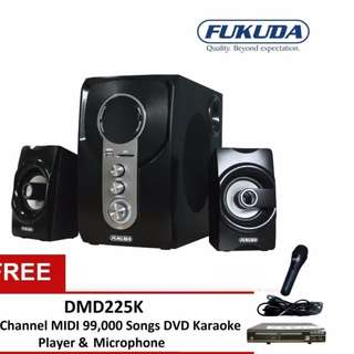 Fukuda FHT200I 2.1 Channel Home Theater Speaker (Black) bundle with DMD225K 2.0 Channel DVD MIDI 99,000 Songs Karaoke Player and Microphone Free Delivery in all NCR Area Cash on Delivery Nationwide
