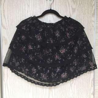 購自日本高質黑色碎花蛋糕裙
