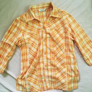 Orange Checkered Button Down Shirt