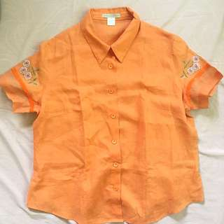 Embroidered Orange Button Down