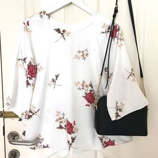 flowery white blouse