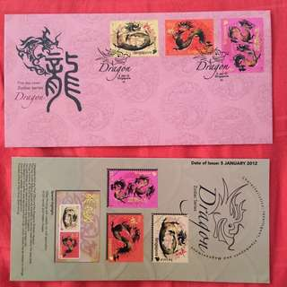 Pre-cancelled First Day Cover- 2012 Dragon Zodiac series