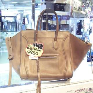 Celine Brown Leather Phantom Shoulder Hand Bag 塞利 啡色 牛皮 蝙蝠袋 手挽袋 手袋 肩袋 袋