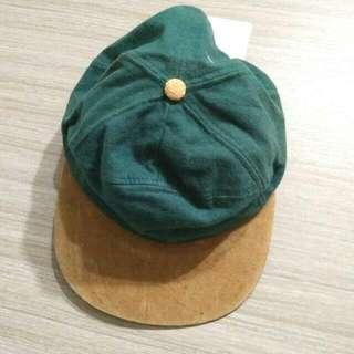 有實戴 墨綠駝色撞色  老帽 板棒球遮陽帽