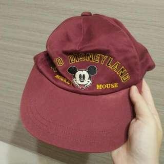 有實戴 正版迪士尼米奇老帽 酒紅色 棒球遮陽板帽