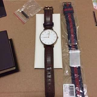 正品 DW Daniel Wellington 36mm 金框 棕色皮革錶帶