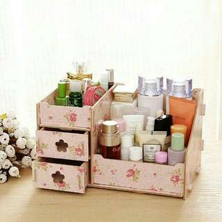 Floral Wooden Cosmetic/Makeup Organizer