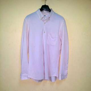 uniqlo men business casual shirt pink long sleeve