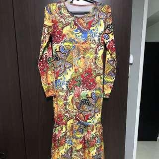 Long Mermaid Dress: Bodycon, Size S-L, Lycra