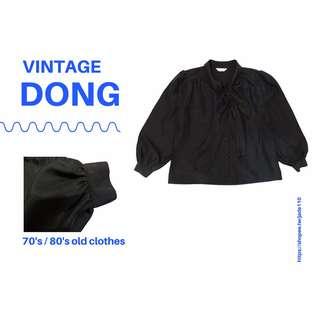 日本古著-黑色細柔氣質上衣