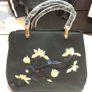 Leather Floral Bag