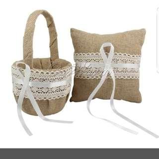 Wedding Flower Girl Basket And Ring Pillow Set