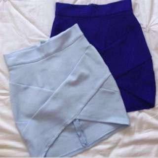 Bandage Skirts, Grey/Blue/Purple, XS-S