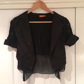 Botika boutique black lace back blazer size 6