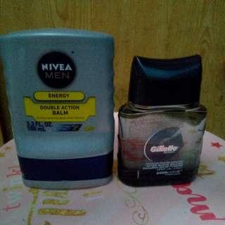 Nivea Men Double Action Balm Gillete After Shave Splash (BUNDLE)