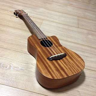 Solid mahogany tenor ukulele with cutaway