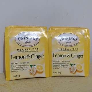 TWININGS薑檸味茶包, (無咖啡因) 15包