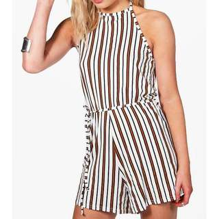 Stripe Halterneck Playsuit