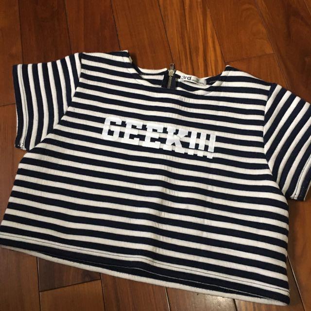 日本品牌3rd類似太空棉料的短版黑白條紋上衣