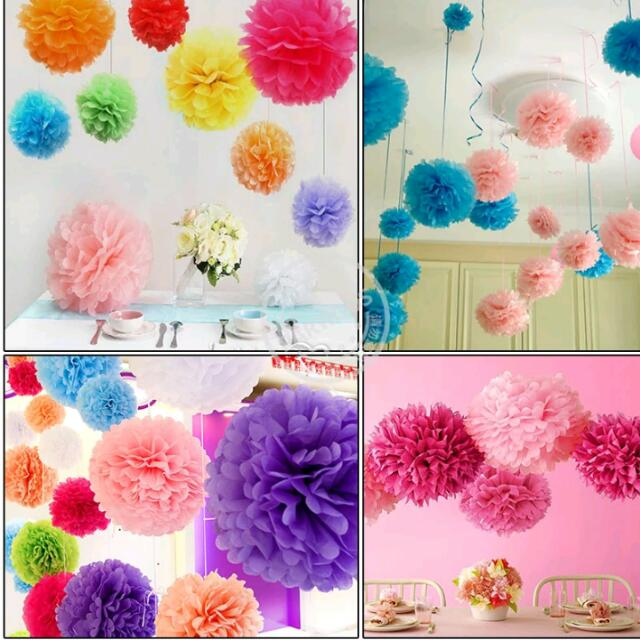5pcs 10inch Tissue Paper Pom Poms Wedding Party Decoration Artificial Paper Flower For Wedding Decoration Garden Supplies