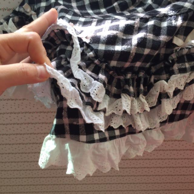 可愛童裝格紋蛋糕短裙