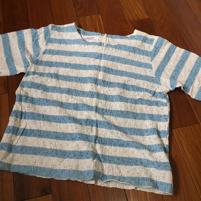 正韓氣質藍白簍空碎花上衣