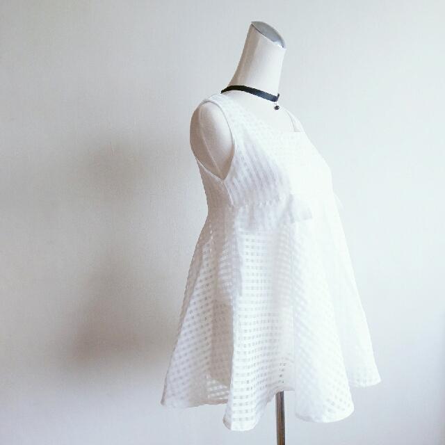 【任選3件500】白色小格紋紗質娃娃衫背心上衣 娃娃裝