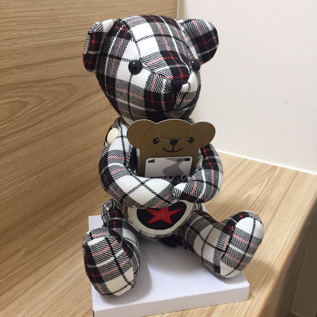 全新格紋熊 手機置物收納