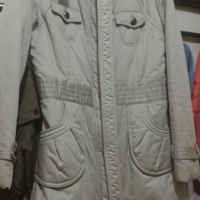 裸色 米色 大衣 外套 附腰帶