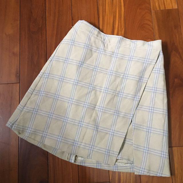 全新/制服風西裝料鬆緊格子裙 m號