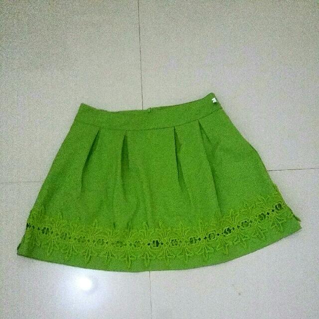 💟 New Midi Skirt Green Bordir