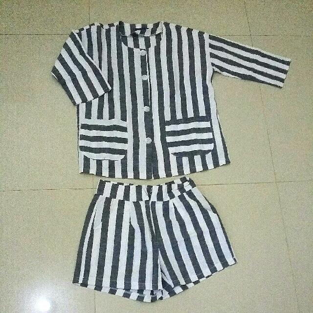 💓 Set Lanvin Stripe Grey-White