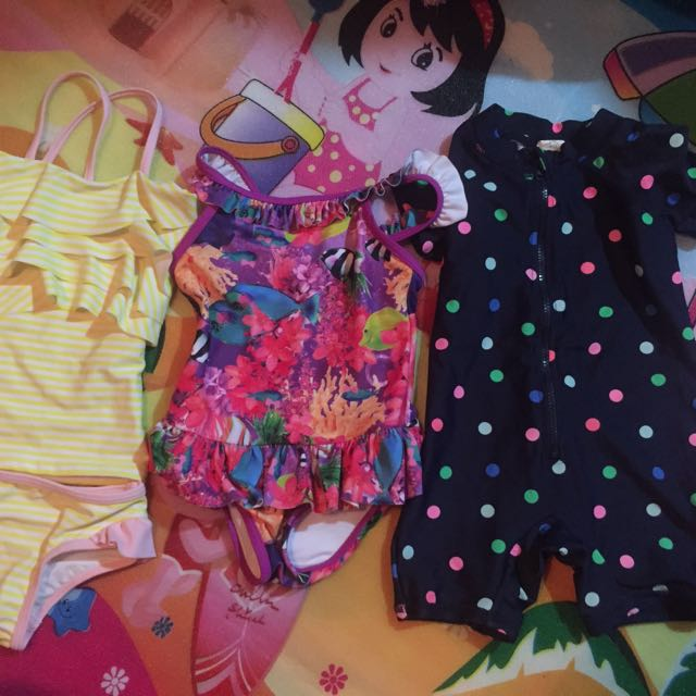 460f6d76fd34f Baby Girl Swim wear bundle of 3 for 6 to 9 months