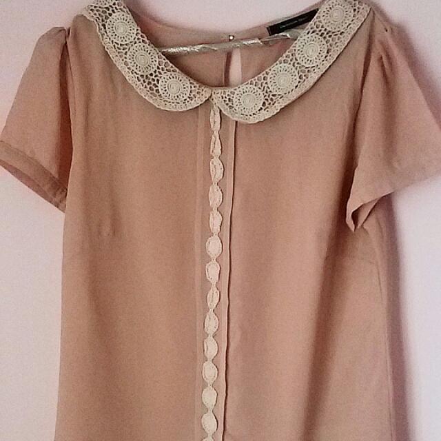 Baju Pink Kerah Brokat Putih