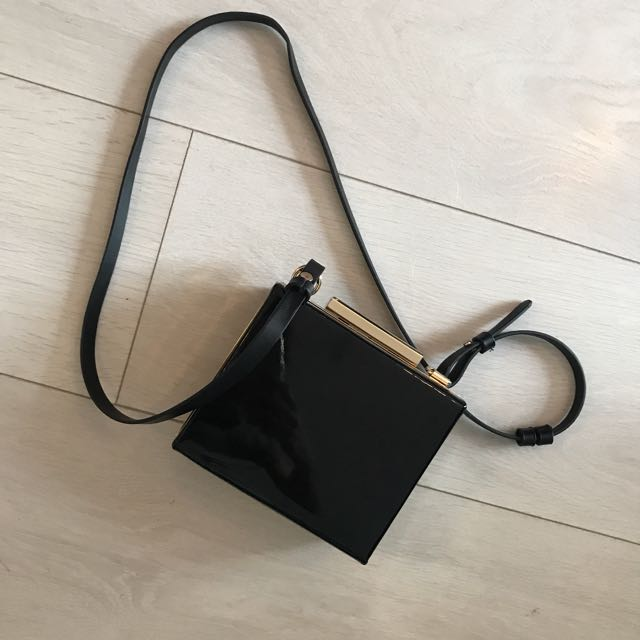 Black patent leather box purse