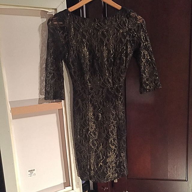 Black-Gold Lace Mini Dress