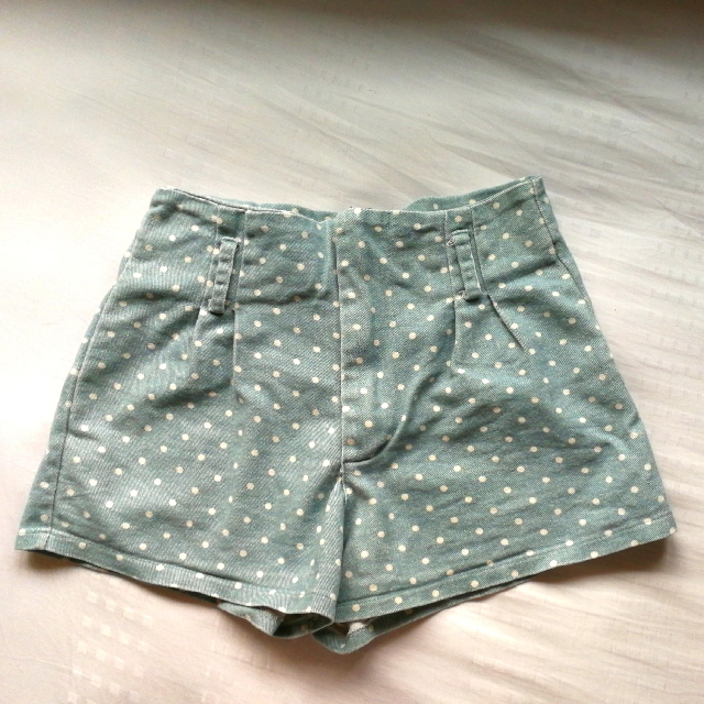 Blue Highwaisted Polka Dot Shorts