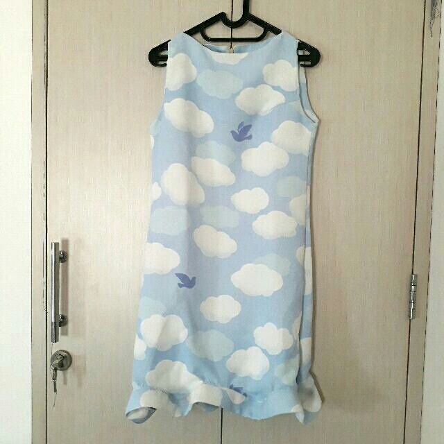 Blue Summer Cocktail Dress Cloud Bird (Limited Item)