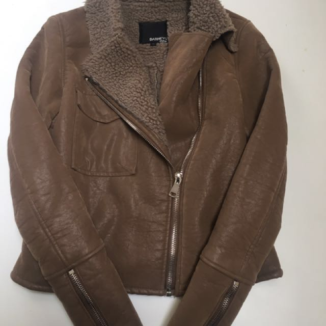 BROWN SUEDE/LEATHER FUR JACKET WITH FRONT ZIP SIZE 10 (S/M)