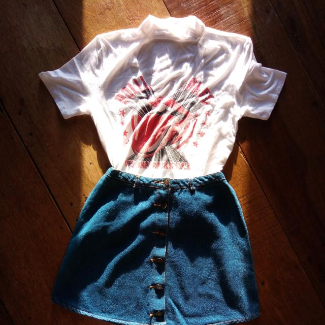 ⚠️BUNDLE⚠️ Rolling Stone Chocker Top  &  Denim Button Up Skirt