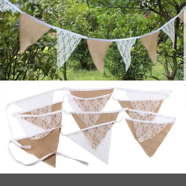 Burlap And Lace Rustic Bunting X5