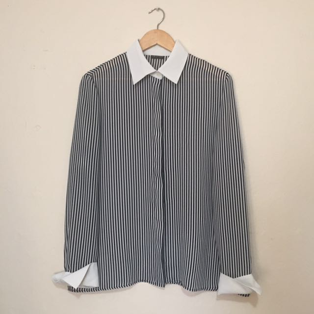 Carla Zampatti - Black & White Striped Shirt
