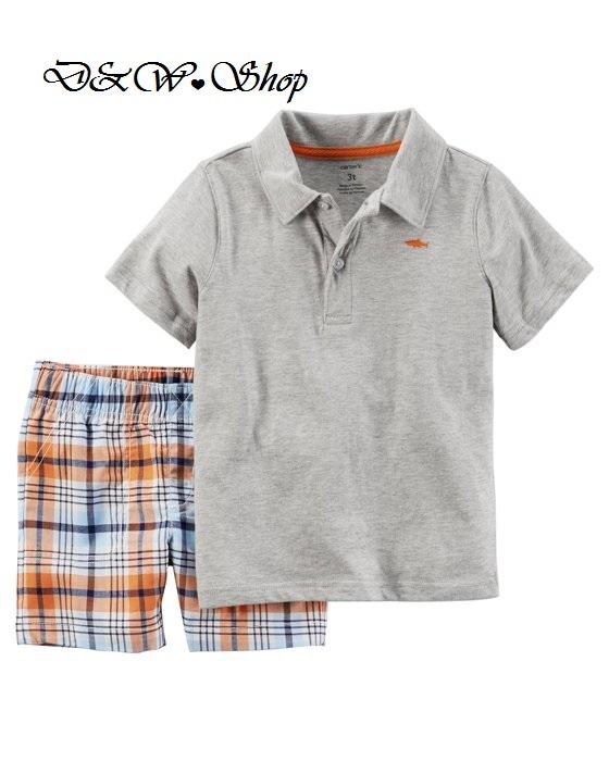 Carter's 灰短袖T+橘格子短褲 二件組