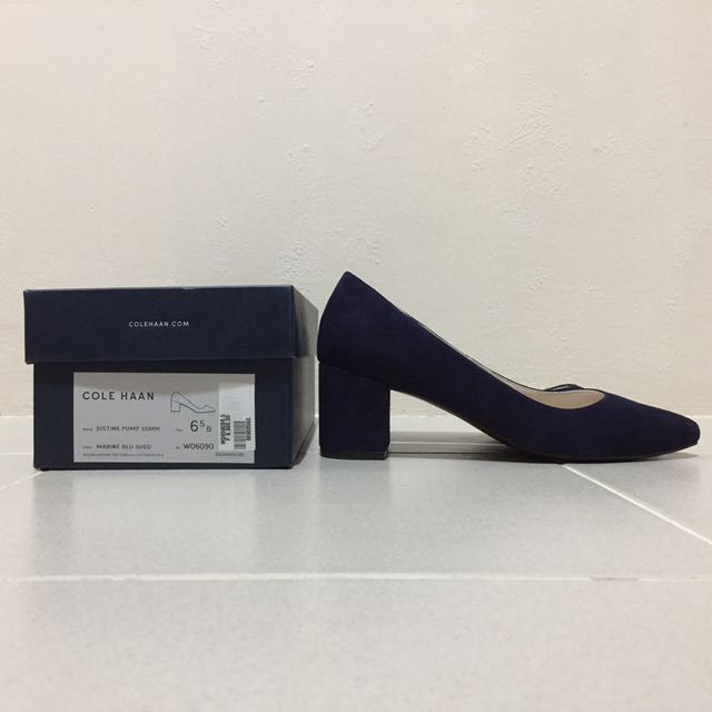 COLE HAAN JUSTINE PUMP in Marine Blue Suede