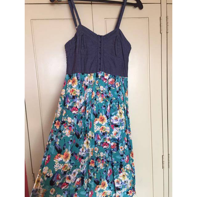 Denim Top And Flowy Bottom Dress