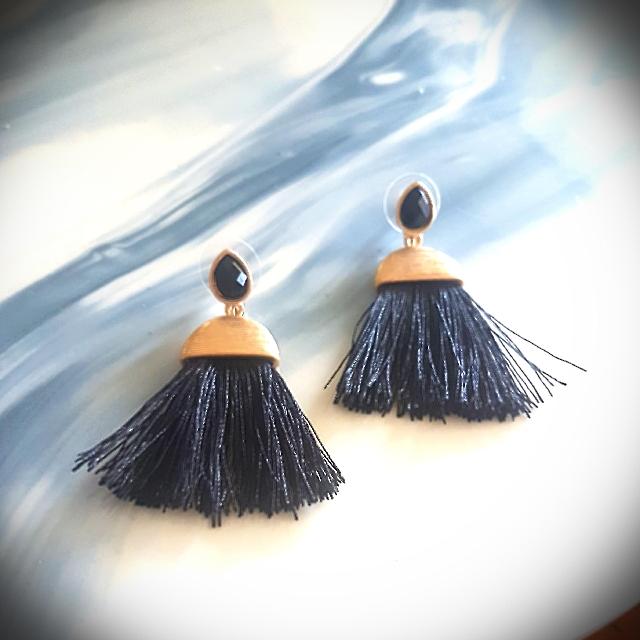 Elegant Black & Gold Tassel Earrings